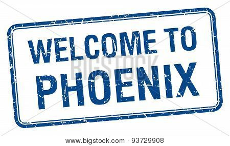 Welcome To Phoenix Blue Grunge Square Stamp