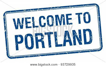 Welcome To Portland Blue Grunge Square Stamp