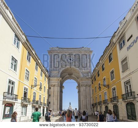 Augusto Street And Arch In Lisbon