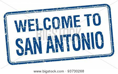 Welcome To San Antonio Blue Grunge Square Stamp