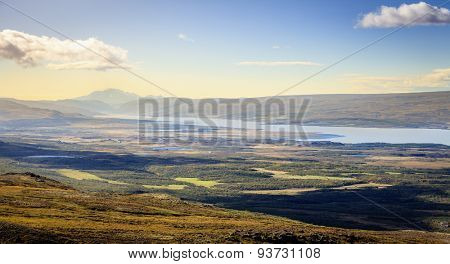 Scenic overlook in Eastern Iceland with a fjord and mountains in the distance