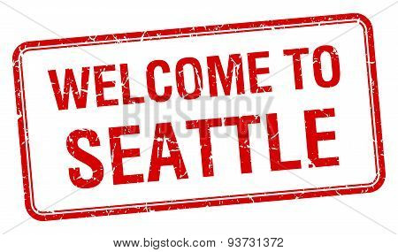 Welcome To Seattle Red Grunge Square Stamp
