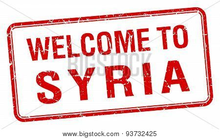 Welcome To Syria Red Grunge Square Stamp