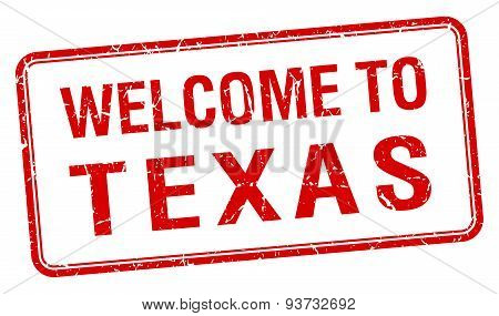 Welcome To Texas Red Grunge Square Stamp