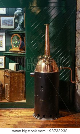 Cork, Ireland - June 20, 2008:  Home Small Copper Whiskey Distillery At The Jameson Heritage Centre