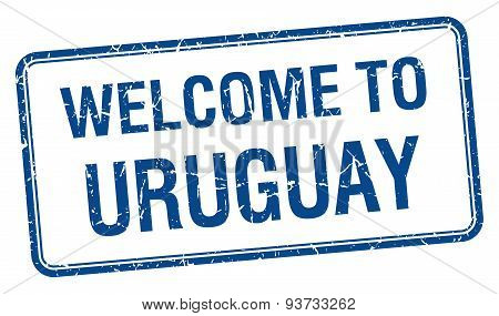 Welcome To Uruguay Blue Grunge Square Stamp