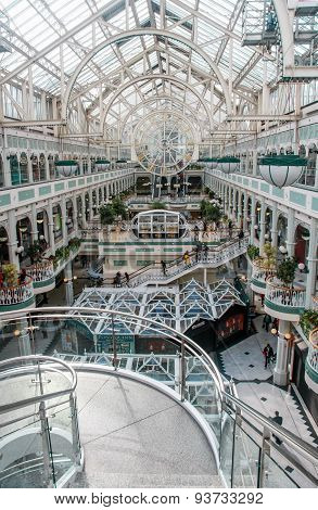 Dublin, Ireland - June 22, 2008: Interior Stephen's Green Shopping Centre With Transparent Roof And