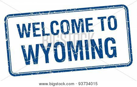 Welcome To Wyoming Blue Grunge Square Stamp