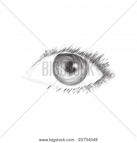 Human eye engraved