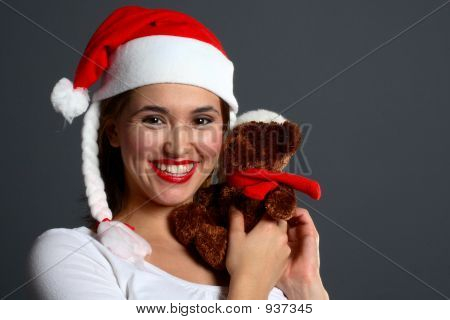 Santa Girl Huggin Christmas Teddy