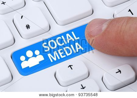Social Networking Or Media Push Button Internet Online Friendship