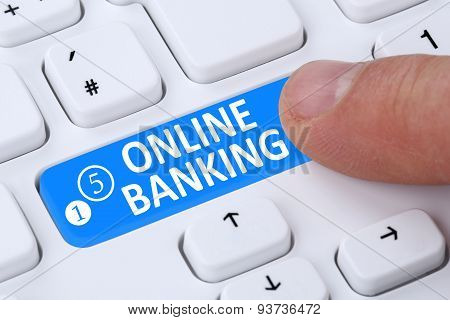 Internet Online Banking Financial Transaction Push Button On Computer