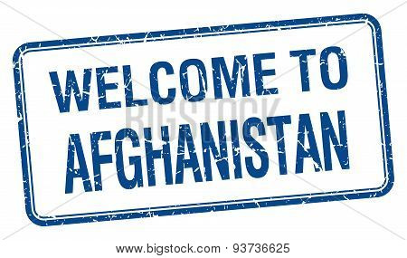 Welcome To Afghanistan Blue Grunge Square Stamp