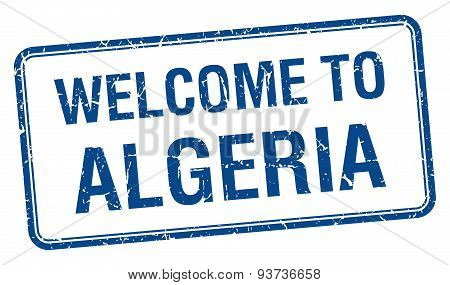 Welcome To Algeria Blue Grunge Square Stamp