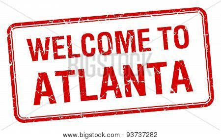 Welcome To Atlanta Red Grunge Square Stamp