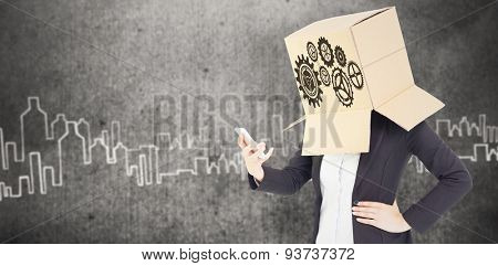 Anonymous businesswoman with her hands up against hand drawn city plan