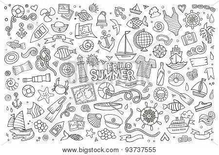 Marine nautical hand vector symbols and objects