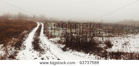 Misty Landscape With Road