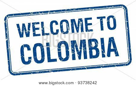Welcome To Colombia Blue Grunge Square Stamp