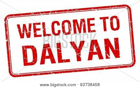 Welcome To Dalyan Red Grunge Square Stamp