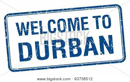 Welcome To Durban Blue Grunge Square Stamp
