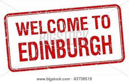 Welcome To Edinburgh Red Grunge Square Stamp
