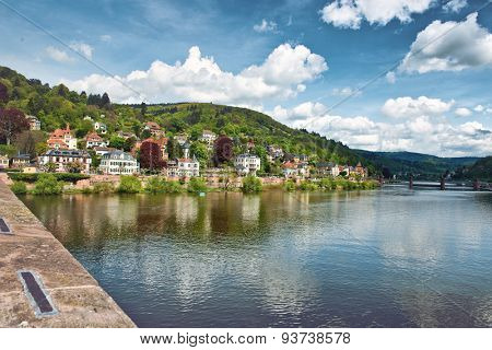 Scenic View of Heidelberg on Bank of Neckar River as seen from Bridge, Scenic View on Sunny Day, Baden-Wurttemberg, Germany