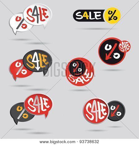 Big Sale Tag Set With Percent Sign