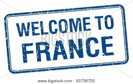 Welcome To France Blue Grunge Square Stamp