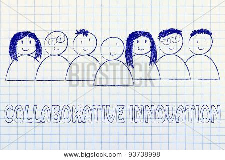 Happy Diverse People Composin A Group Of Collaborative Innovation