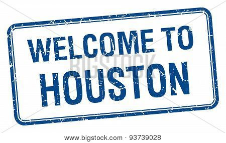 Welcome To Houston Blue Grunge Square Stamp