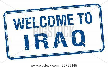 Welcome To Iraq Blue Grunge Square Stamp