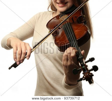 Violinist playing violin isolated on white