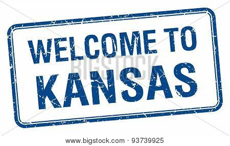 Welcome To Kansas Blue Grunge Square Stamp