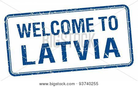 Welcome To Latvia Blue Grunge Square Stamp