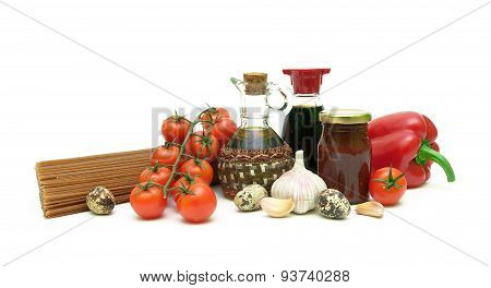 Pasta, Vegetables, Soy Sauce, Eggs And Sunflower Oil On A White Background