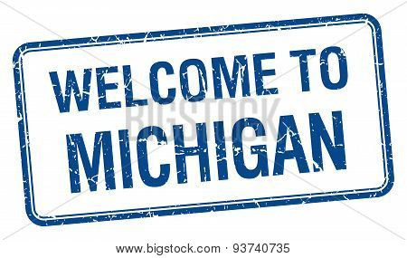Welcome To Michigan Blue Grunge Square Stamp