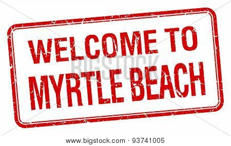 Welcome To Myrtle Beach Red Grunge Square Stamp