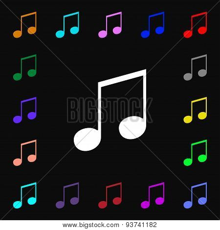 Musical Note, Music, Ringtone Icon Sign. Lots Of Colorful Symbols For Your Design. Vector