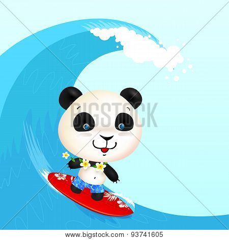 Little cute surfer panda surfing in blowing wave