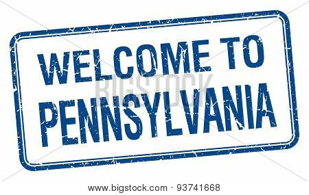 Welcome To Pennsylvania Blue Grunge Square Stamp