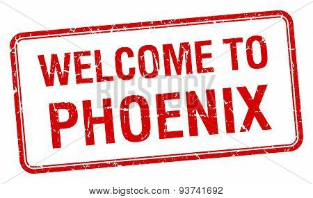 Welcome To Phoenix Red Grunge Square Stamp