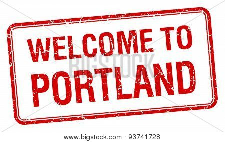 Welcome To Portland Red Grunge Square Stamp