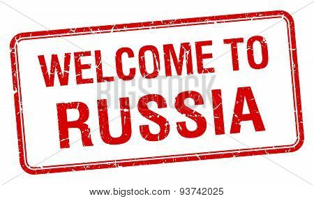 Welcome To Russia Red Grunge Square Stamp
