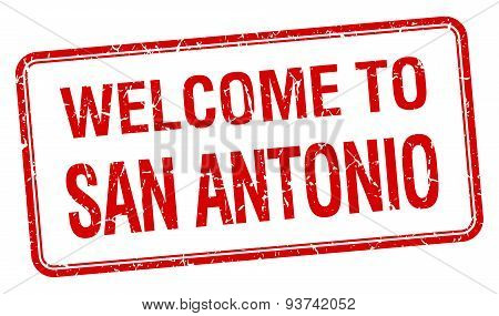Welcome To San Antonio Red Grunge Square Stamp