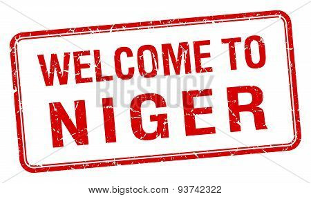 Welcome To Niger Red Grunge Square Stamp