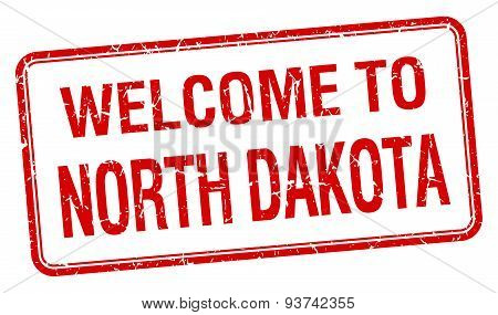 Welcome To North Dakota Red Grunge Square Stamp