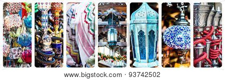 collage photos of beautiful goods bazaar