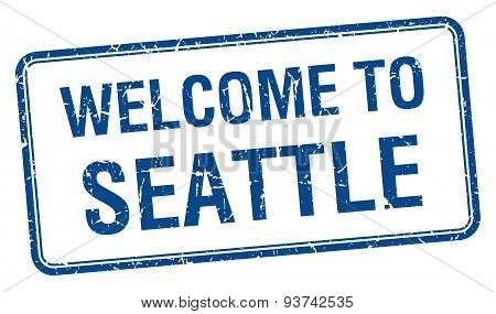 Welcome To Seattle Blue Grunge Square Stamp