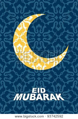 Crescent moon of stars at  Oriental style background. Islam east style with text